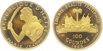 100 Gourdes 1968 - Marie Jeanne, PROOF
