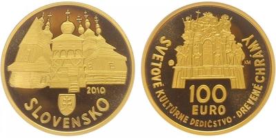 100 Euro 2010 - Světové kulturní dědictví - Dřevěné chrámy v slovenské části karpatského obluka, PROOF