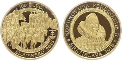 100 EURO 2018 - 400. výročí korunovace Ferdinanda II., PROOF