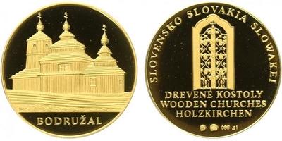 Medaile b.l. - Bodružal - Slovenské dřevěné kostely, Au 0,986, 23 mm (7,7 g), číslo 5