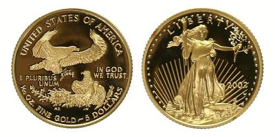 USA, 5 Dollars 2002 - 1/10 Oz., Au 0,9167, 17 mm (3,393 g), PROOF