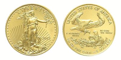 USA, 5 Dollars 2013 - Liberty / Zlatý orel, 1/10 Oz., běžná kvalita