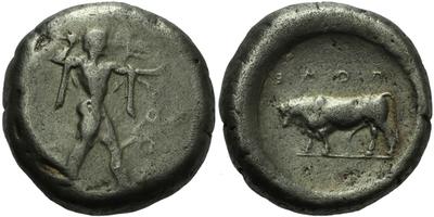 AR Stater - Nahý Poseidon / Býk vlevo, Sear.424, 19 mm (7,9 g)
