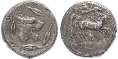 "AR Tetradrachma - Hlava Lva vpravo AEONTINON / Biga vpravo, nad ní Niké, ""R"", Sear. 8"