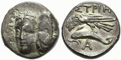 AR Stater, Dvě tváře zepředu / orel a delfín, nápis Istros, Sear.1669, 18 mm (6,2 g)
