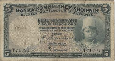 Albánie, 5 Franka Ari (1926), P.2
