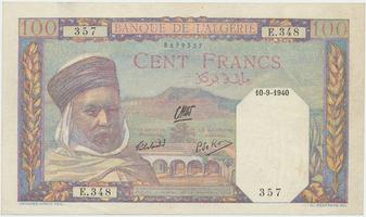 Alžír, 100 Francs 1940, P.85
