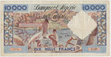 Alžírsko, 10000 Francs 1956, P.110