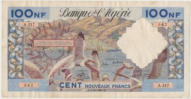 Alžírsko, 100 Nouveaux Francs 1961, P.121b