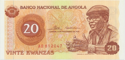 Angola, 20 Kwanzas 1976, P.109a