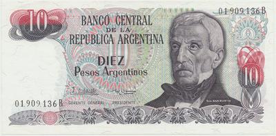 Argentina, 10 Pesos Argentinos (1983~1984), P.313