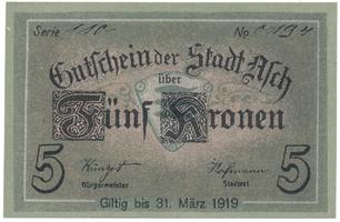 Asch (Aš) - město, 5 K (do 31. 3. 1919), HH.1.13.1a