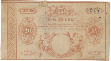 Aussig (Ústí nad Labem) - Jos. Prunitz, 20 kr. konv. měny 1849, VR.55.06.06b.F