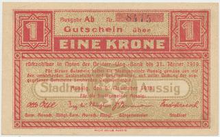 Aussig (Ústí n.L.) - město, 1 K  5. 11. 1918, HH.2.3.1a