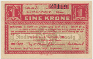 Aussig (Ústí n.L.) - město, 1 K  5. 11. 1918, HH.2.3.1f