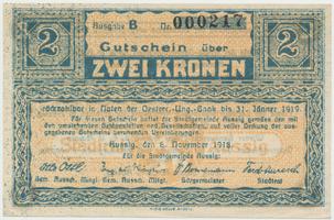 Aussig (Ústí n.L.) - město, 2 K  5. 11. 1918, HH.2.3.2g