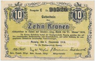 Aussig (Ústí n.L.) - město, 10 K  5. 11. 1918, HH.2.3.3f