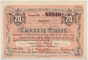 Aussig (Ústí n.L.) - město, 20 K  5. 11. 1918, HH.2.3.4f
