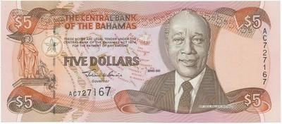 Bahamy, 5 Dollars 2001, P.63b