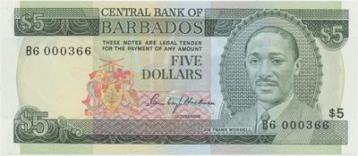 Barbados, 5 Dollars (1975), P.32a