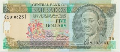 Barbados, 5 Dollars (1996), P.47