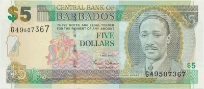 Barbados, 5 Dollars (2000), P.61