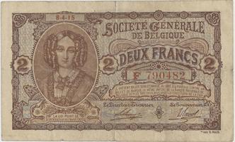 Belgie, 2 Francs 1915, P.87