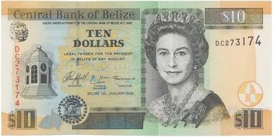 Belize, 10 Dollars 2005, P.68b