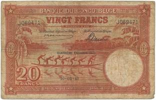 Belgické Kongo, 20 Francs 1943, P.15C