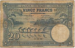 Belgické Kongo, 20 Francs 1950, P.15H