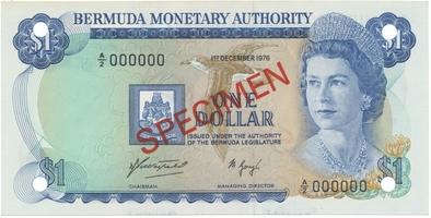 Bermudy, 1 Dollar 1976, anulát - SPECIMEN, P.28s