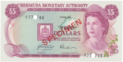 Bermudy, 5 Dollars 1978, SPECIMEN, P.29cs