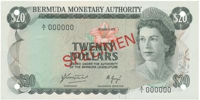 Bermudy, 20 Dollars 1976, anulát - SPECIMEN, P.31s
