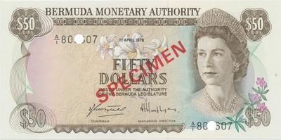 Bermudy, 50 Dollars 1978, SPECIMEN, P.32cs