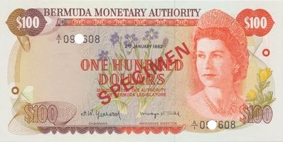 Bermudy, 100 Dollars 1982, SPECIMEN, P.33cs