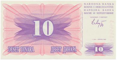 Bosna a Hercegovina, 10 Dinara 1992, P.10a