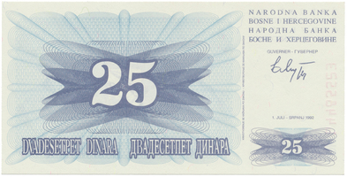 Bosna a Hercegovina, 25 Dinara 1992, P.11a