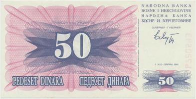 Bosna a Hercegovina, 50 Dinara 1992, P.12a