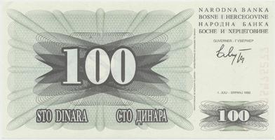 Bosna a Hercegovina, 100 Dinara 1992, P.13a