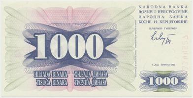 Bosna a Hercegovina, 1000 Dinara 1992, P.15a