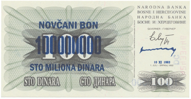 Bosna a Hercegovina, 100 Miliona Dinara 1993, P.37