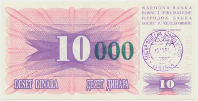 Bosna a Hercegovina, 10.000 Dinara 1993, P.53a
