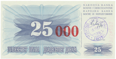 Bosna a Hercegovina, 25.000 Dinara 1993, P.54b