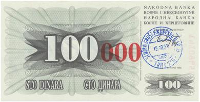 Bosna a Hercegovina, 100.000 Dinara 1993, P.56b