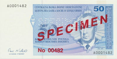 Bosna a Hercegovina, 50 Konvert. Pfeniga (1998), anulát - SPECIMEN, P.57s