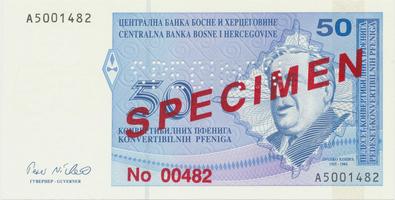 Bosna a Hercegovina, 50 Konvert. Pfeniga (1998), anulát - SPECIMEN, P.58s