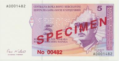 Bosna a Hercegovina, 5 Konvert. Marka (1998), anulát - SPECIMEN, P.61s