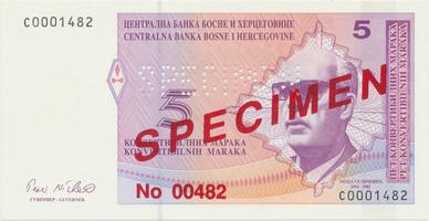 Bosna a Hercegovina, 5 Konvert. Marka (1998), anulát - SPECIMEN, P.62s