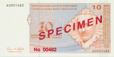 Bosna a Hercegovina, 10 Konvert. Marka (1998), anulát - SPECIMEN, P.64s