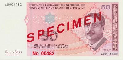 Bosna a Hercegovina, 50 Konvert. Marka (1998), anulát - SPECIMEN, P.68s